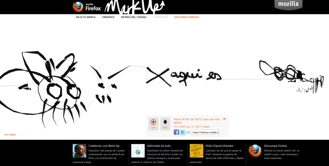 X aquí es - mi marca en la iniciativa Mark Up, luego que instalé el novísimo Firefox 5.0