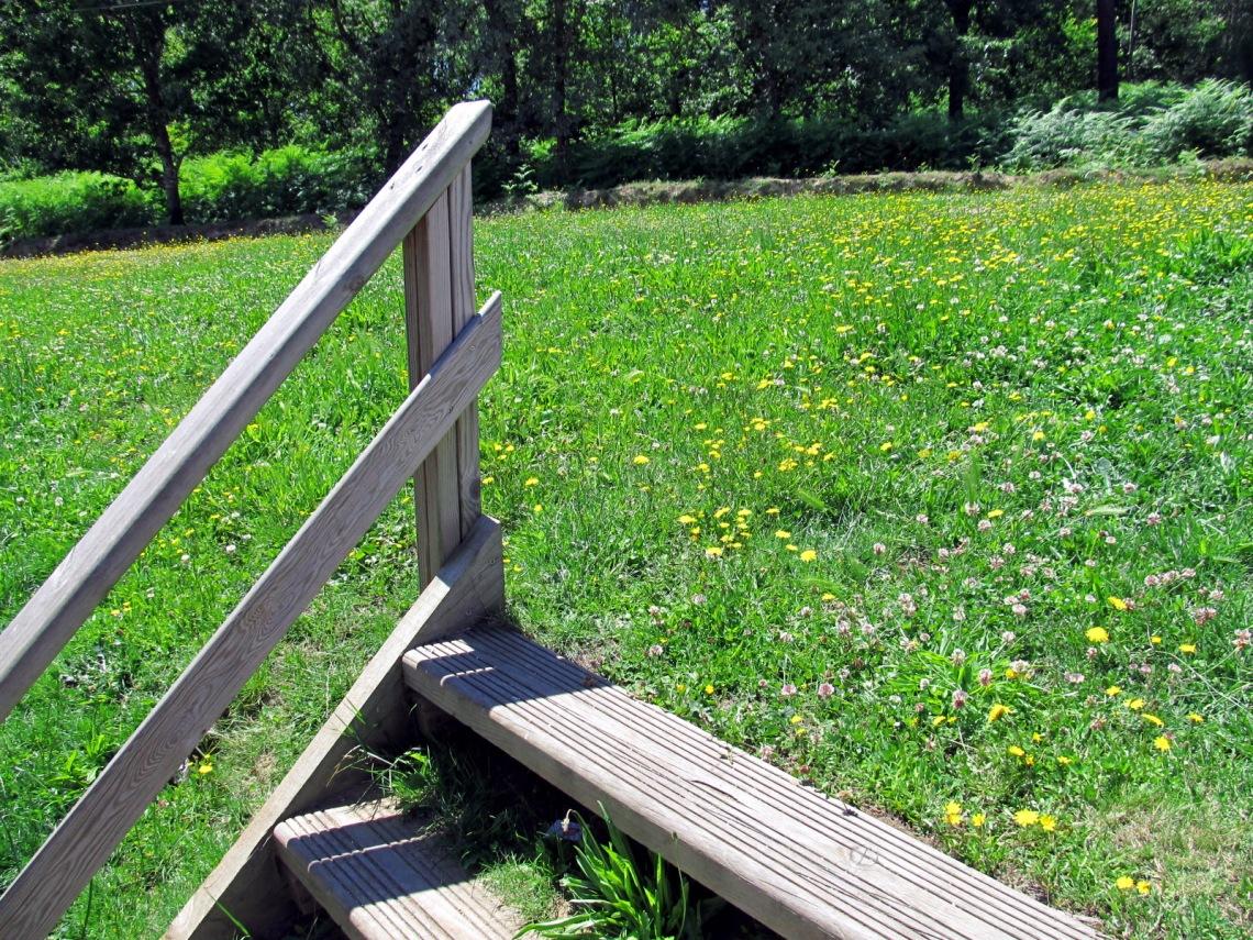 La escalera de madera que lleva al prado